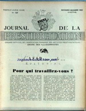 JOURNAL DE LA PRESTIDIGITATION [No 157] du 01/11/1950 - POUR QUI TRAVAILLEZ-VOUS - V. FARELLI - LEWIS CARROLL. par Collectif