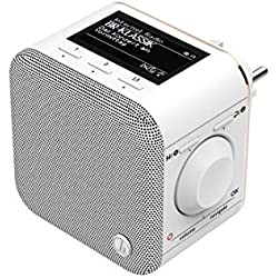 Hama IR40MBT-PlugIn Internet-/Steckdosen Radio (Bluetooth/AUX/USB/Spotify/Multiroom/Netzwerkstreaming, integr. Radio-Wecker, beleuchtetes Display, geeignet für die Steckdose)