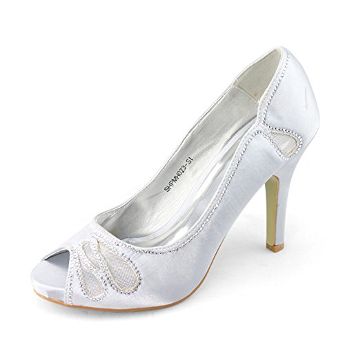 SHOEZY Marque Femmes Cut Out Mesh nuptiale Cristaux Talons Pompes Chaussures Argent - Argent