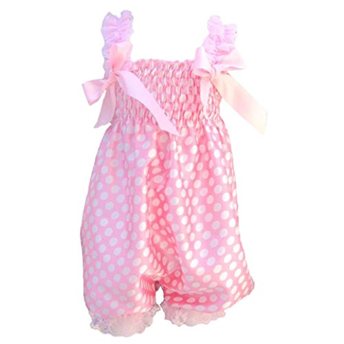 Price comparison product image SODIAL(R) Newborn Infant Baby Girl Pink Dot foundation Ruffle Rompers Dress One-Piece Tutu Lace Clothes Bust 32-56cm length 50cm.