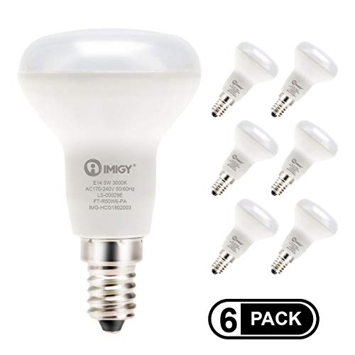 imiGY R50 E14 LED-Birnen, Reflektor 5W 3000K warmes Licht gleichwertig 40W Glühlampe, nicht-dimmbare energiesparende Reflektorlampen 450Lm, AC 220-240V, 6er Pack -