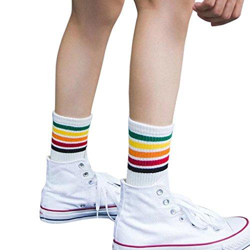 sunshineBoby Damen Sneaker Sport Socken Sportsocken Füsslinge,Frauen Socken Damen Mädchen Baumwolle Warm Soft,Cheerleader College Kniestrümpfe mit Streifen Gestreifte (Weiß, Freie Größe) (Gestreifte Socken Weiße)