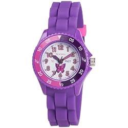 Tikkers Children's Purple Butterfly Silicone Kids Time Teacher/Tutor watch TK0041