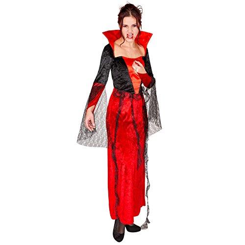 Kostüm Spitze Samt - TecTake dressforfun Aufwendiges Damen Vampirkleid mit Stehkragen Gothic Kostüm aus Samt, Satin und Spitze, Polyestergewebe (XL | Nr. 300073)