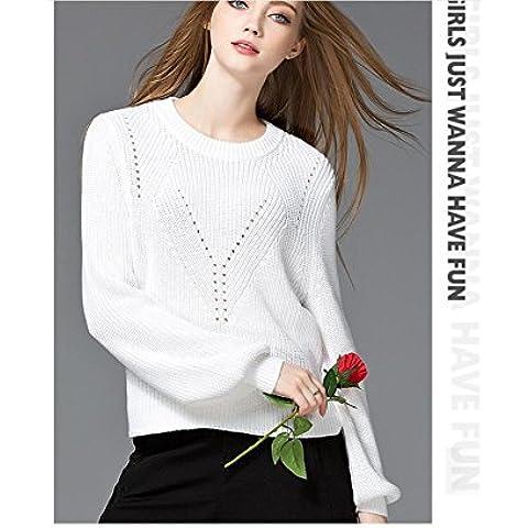 HUA De las mujeres suéteres de la linterna mangas Prendas de punto , white , l