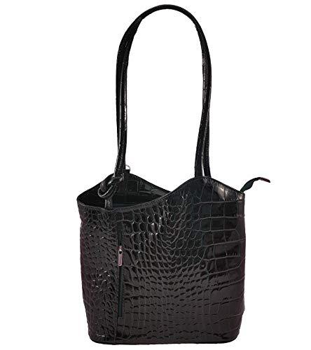 Freyday 2 in 1 Handtasche Rucksack Designer Luxus Henkeltasche aus Echtleder in versch. Designs (Kroko Schwarz Lack) -