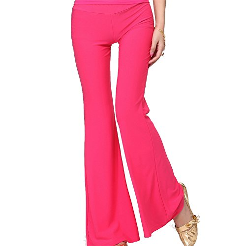 Damens Ladies Tanzen Clothes Elastic Tanzen Pants Tribal Tanzenwear Leggings Trousers Dark Pink