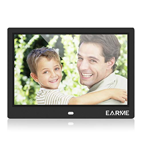 EarME Digitaler Bilderrahmen multifunktional 10 Zoll HD LCD Display mit Fernbedienung unterstützt SD Kartenslot Hohe Auflösung