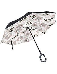 Mnsruu Paraguas invertido de Doble Capa con Forma de Oso Panda y protección contra el Viento
