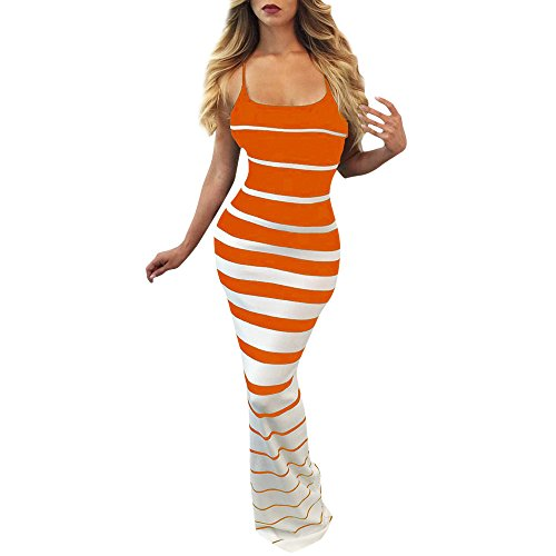 Feinny Sommer Damen Mode Sexy Tube Top Ärmellos Trägerlos Print Slim Fit Schlankes Kleid Partykleid Fishtail Rock/Orange/S-XL -