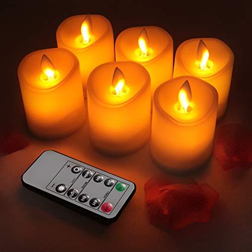 LED Kerzen, Flammenlose Kerzen Licht 3 Zoll Satz Set aus 6 batteriebetrieben - Flackernde Kerzen realistischen tanzenden LED Flammen und 10-Tasten Fernbedienung mit 2/4/6/8-Stunden Timer - Flackernde Flamme-licht