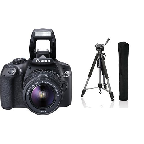 Canon EOS 1300D Digital SLR Camera + Hama Fotostativ Action 165 3D, anthrazit