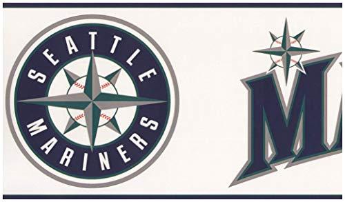York Wallcoverings Seattle Mariners MLB Baseball Team Fan Sport Wallpaper Border Modern Design, Roll-15' x 6'' Seattle Mariners Team-design