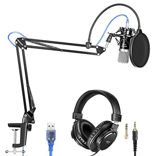 Neewer Professionelle Einstellbare Faltbare Mikrofonständer Mikrofon Set (5-in-1-Schwarz)