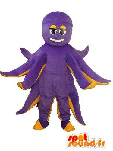 Mascotte SpotSound Amazon personalizzabili giallo viola polpo peluche - Octopus Costume