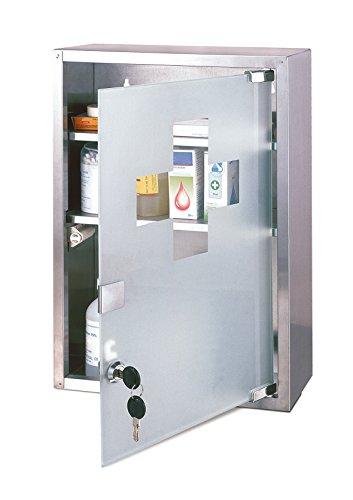 Axentia armadietto per medicinali in acciaio inox - cassetta porta-medicinali a 3 ripiani, dotato di serratura di sicurezza, 30 x 12 x 45 cm