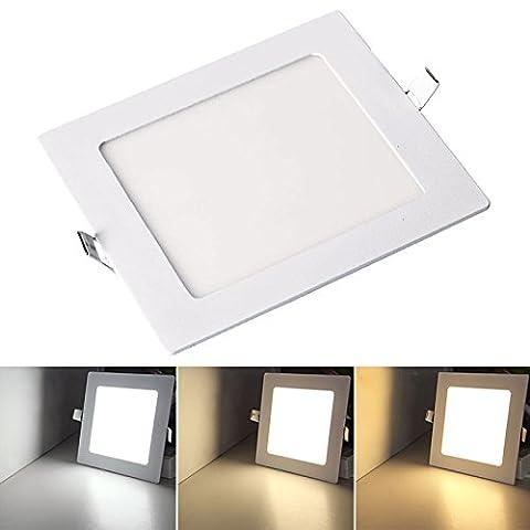 VINGO® UltraSlim Panneau LED Spot Plafonnier Applique Murale Encastrable avec Transformateur 12W Eckig