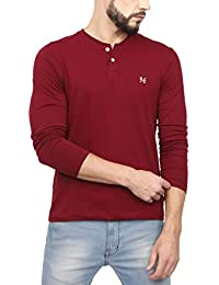 e479dd34ba26 Urba Classics Men's Cotton Henley Neck Full Sleeves Maroon Plain T Shirt (UC1119)