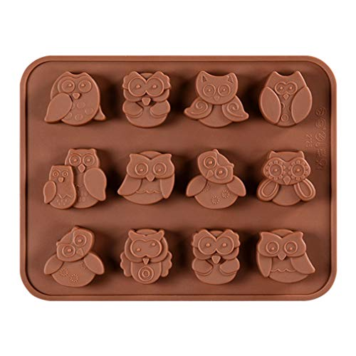 JasCherry Silikon Backform für Schokolade, Cupcakes, Kuchen, Muffinform für Muffins, Pudding, Eiswürfel und Gelee - Animal Serie (Eule, - Halloween Cookies Owl