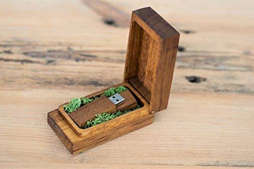 Chiavetta usb con scatola di legno, regalo per matrimoni, la scatola può contenere una fotografia di vostra scelta, personalizzabile con decorazioni naturali, logo o testo iroko 16 gb