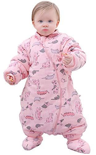 Chilsuessy Baby Schlafsack mit Füße Ganzjahres 3.5 Tog Baby Schlafsack mit abnehmbaren Ärmeln für Säugling Kinder (85cm/Baby Höhe 85-100cm, Rosa)