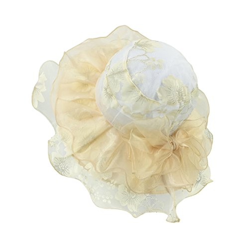 Lethmik organza a tesa cappello donne cappelli matrimonio o party Race Derby cappello ricamato, donna, Bright yellow, Taglia unica