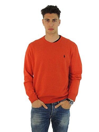Ralph Lauren maglia uomo in lana tinta unita A42SCN07W8798 ARANCIO