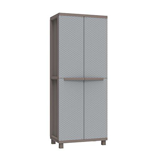 Terry Jrattan 368Hochschrank aus Kunststoff, Besenschrank, Farbe: Grau, Größe: 68x 37,5x 170cm