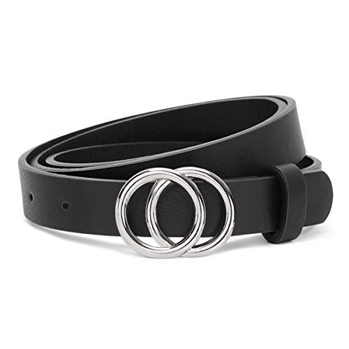 JasGood Gürtel zwei Ringen Gürtel Damen Stilvoll Gürtel Robuster Gürtel mit Eisenschnalle Einfacher Stil Einzigartig gürtel Vintage und Modisch, A-schwarz-silberne Schnalle, L-125cm(36-40 zoll)