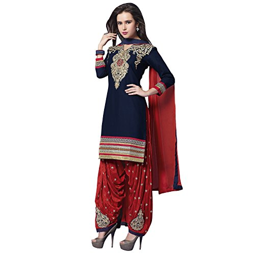 Kvsfab Patiala suit/salwar suit/Embroidery salwar Suit/unstitched dress material,Navy Blue & Red
