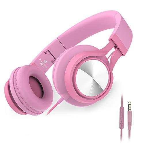 Ailihen C8 Kopfhörer leicht faltbar mit Mikrofon Lautstärkeregelung Musik Headsets 3,5mm für Smartphones PC Laptop Mac MP3 Tablet (Pink)
