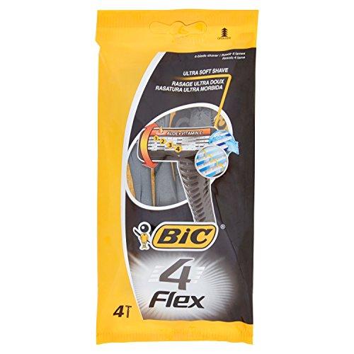 BIC 4 Flex Einwegrasierer Set Männer, 4 Klingen, Für empfindliche Haut, 8 Stück