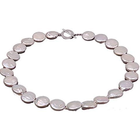 jyx Classic 15–16mm bianco Coin perla d' acqua dolce collana girocollo per le (16 Mm Coin)