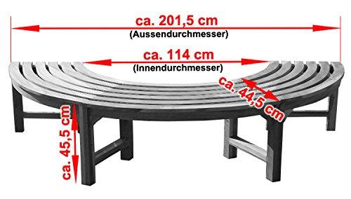 KMH® 180° Baumbank ohne Rückenlehne Teakholz - 3