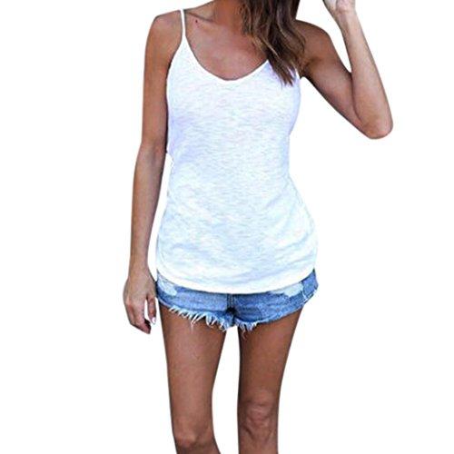 FNKDOR Top de chaleco de verano para mujer blusa sin mangas camiseta casual de camiseta de manga larga (L, Blanco)