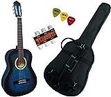 Pack Guitare Classique 3/4 (8-13ans) Pour Gaucher Avec 3 Accessoires (bleu)