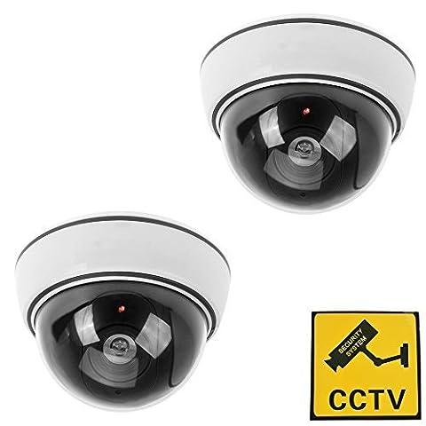 2x Fake Dummy CCTV Dome Security Camera Flashing LED Indoor