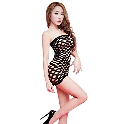 Preisvergleich Produktbild Nachthemden Damen Sexy Dessous, Sunheit Aushöhlen Erotik Nachtkleid (Schwarz)