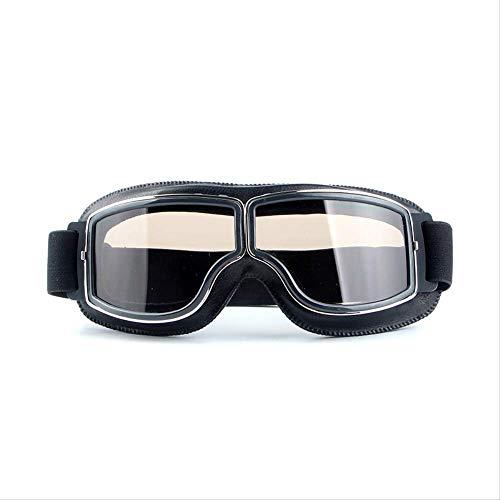 Leder Tee (MZZH Polarisierte Sonnenbrille Spot Harley Brille Retro Cross Country Brille Motorrad Winddichte Brille Reiten Outdoor Schutzbrille Schwarz Leder + Tee)
