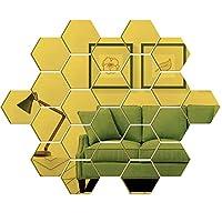 Auidy_6TXD 24 Pcs Mirror Wall Stickers, Mirror Art DIY Home Decorative 3D Hexagonal Acrylic Mirror Wall Sheet Plastic Mirror Tiles for Home Wall Decoration(100MM*85MM*50MM gold)