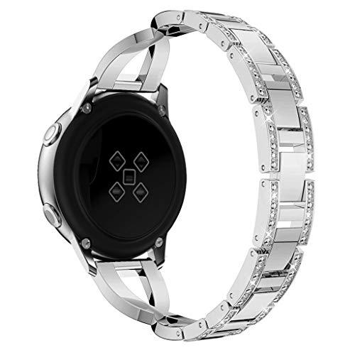 Glowjoy Metallarmband Ersatz für Samsung Galaxy Active,Armband 20mm Edelstahl Armbänder Quick Release Uhrenarmband Watch Band Accessories Einstellbare Wristband Uhrenband Damen Herren (Silber) - Bänder Herren-erweiterbar-uhr