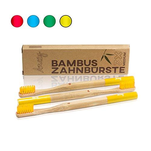 Amazy Bambus Zahnbürste (3 Stück | Gelb) – Die nachhaltige, vegane Holzzahnbürste für eine natürliche Zahnpflege und Zahnreinigung