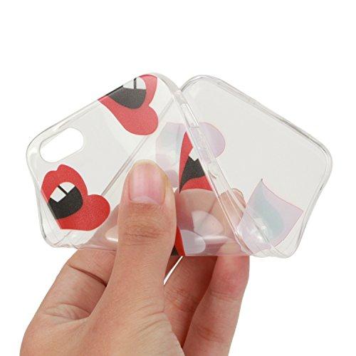 Custodia per iPhone 6s, toyym iPhone 66S Custodia Bumper trasparente, flessibile, in silicone [trasparente] morbido TPU ultra sottile resistente agli urti + Drop assorbimento + antigraffio] Cover Ski Red lips
