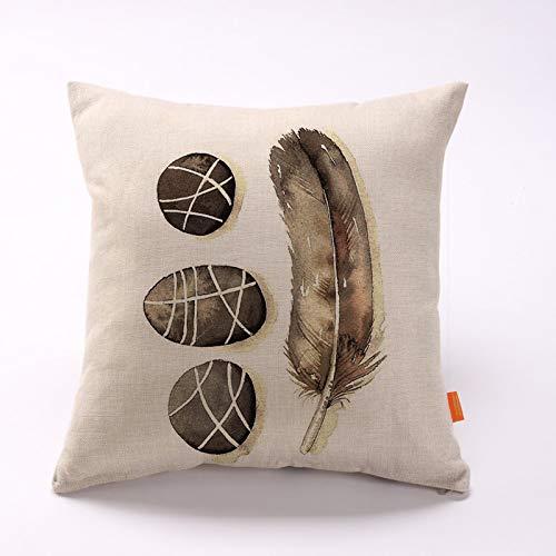 Comfot Quadratisches Kissen Umfasst Baumwoll-Und Leinen Kissen Zu Hause Für Sofa-Bett Sessel 43X43cm 1Pcs-Feder Muster,Style8 -