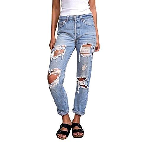 LuckyBB Women Casual Denim Ripped Long Pants Mid Waist Holes Jeans Slim Trousers (L, Blue)