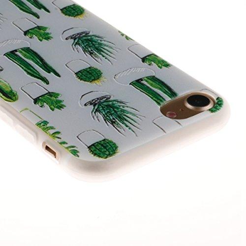 iPhone 7 Hülle,TPU Silikon Defender für iPhone 7,Ekakashop Bunte Campanula Muster Ultra dünn Slim Transparent Flexible Gel Crystal Klar Case Protective Schutzhülle Durchsichtig mit Niedliche Cartoon f Kaktus