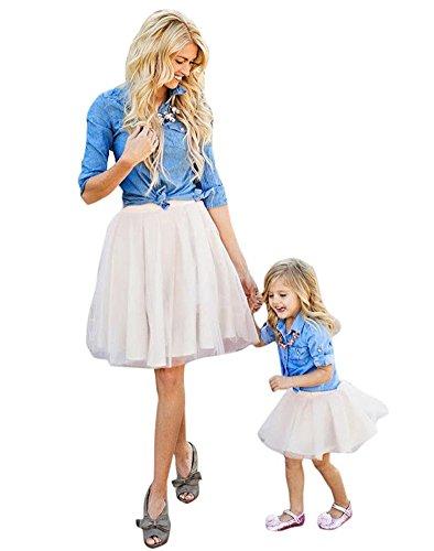 Minetom Mütter und Tochter Familie Collocation Kleidung Boho Ärmellose Kleider Weste A Linie Hohe Taille Farbe Rock Strandkleid Blau-Weiß 100 (Mädchen)