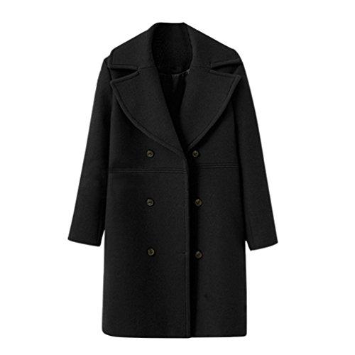 Abrigo de mujer Chaqueta de mujeres Moda Suelto Invierno Calentar Manga larga Botón Sólido De lana Abrigo Outwear Rompevientos Cárdigan LMMVP (XL, Negro)