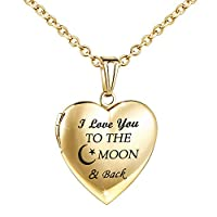 YOUFENG Love Heart Locket Necklace That Holds Pictures Engraved I Love You to The Moon and Back Photo Lockets (18K Gold Locket)