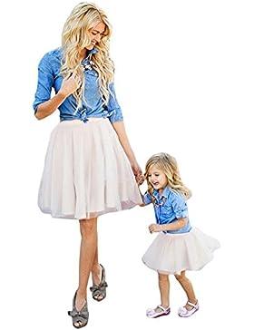 Minetom O-Collo Senza Maniche Vestito Per Madre e Figlia Vestire Casual Genitore-Bambino A-Line Mini Prom Abiti...
